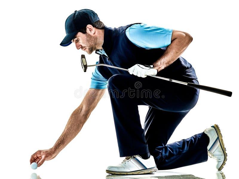 Mensengolfspeler golfing geïsoleerd met achtergrond stock foto