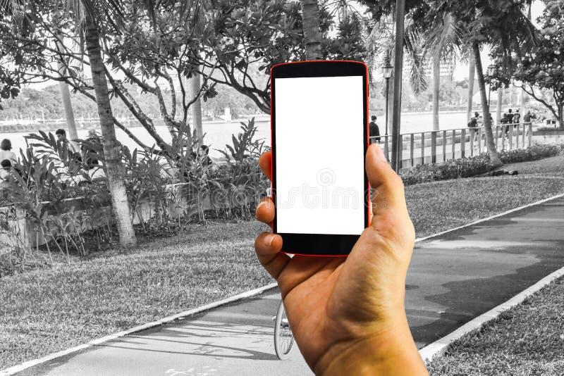 Mensenhand die de telefoon en het witte scherm met onduidelijk beeldzwarte houden & wh stock foto's