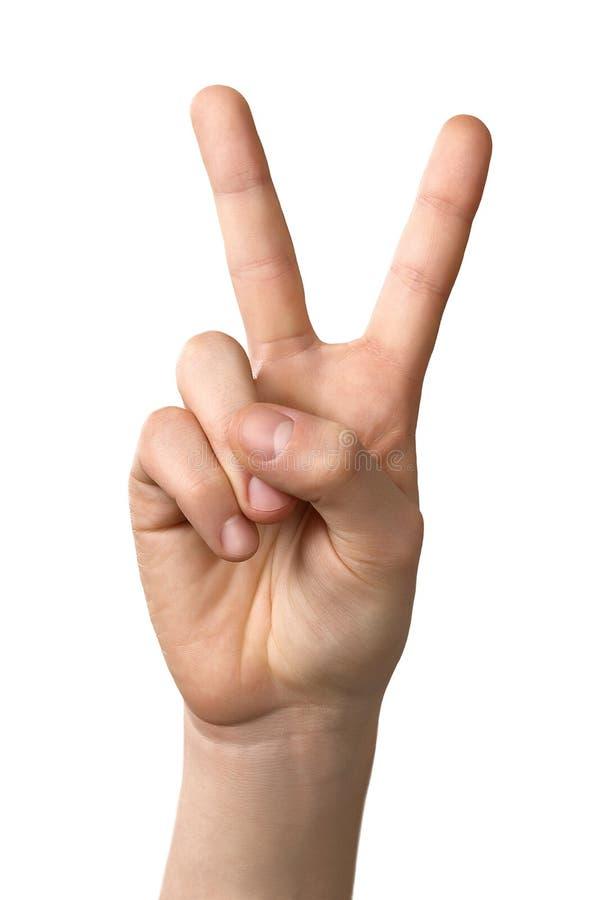 Mensenhand die het gebaar van het overwinningsteken tonen die, op witte backgro wordt geïsoleerd royalty-vrije stock foto's