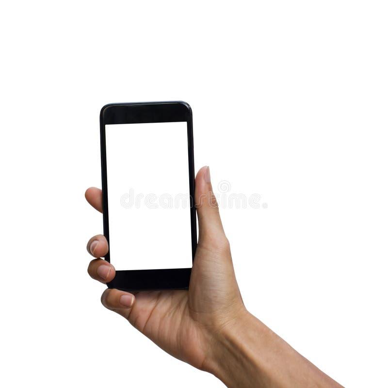 Mensenhand die zwarte smartphone met het witte omhoog scherm voor spot houdt stock afbeeldingen