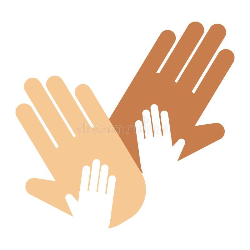 Mensenhanden die de vinger van het de richtingssymbool van de groetpols menselijk duimconcept tonen stock illustratie