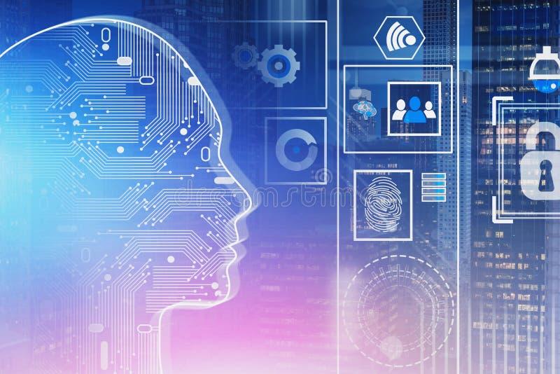 Mensenhoofd, AI concept en veiligheid vector illustratie