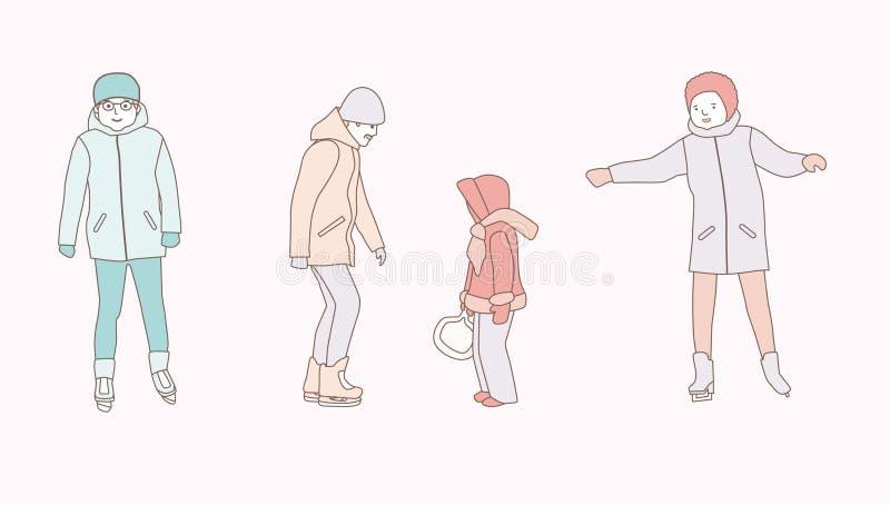 Mensenijs die in openlucht schaatsen Mannen, vrouw, familie hand getrokken het ontwerpillustraties van de stijl vectorkrabbel op  stock illustratie