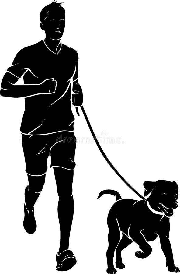 Mensenjogging met een Hond vector illustratie
