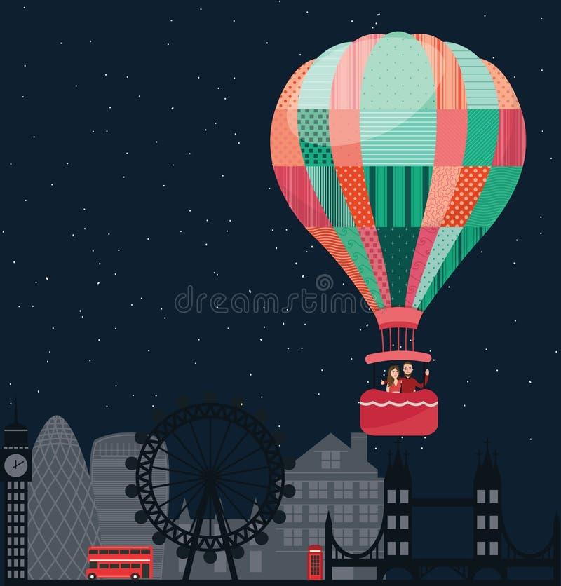 Mensenjonge geitjes die in hemel met hete vector de illustratiereis van ballonvrienden vliegen royalty-vrije illustratie