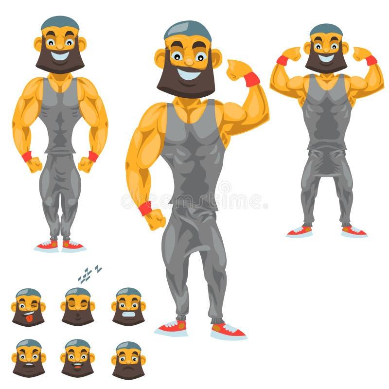 Mensenkarakter voor uw scènes Grappig beeldverhaal Vector illustratie die op witte achtergrond wordt geïsoleerdd Bodybuilder vector illustratie