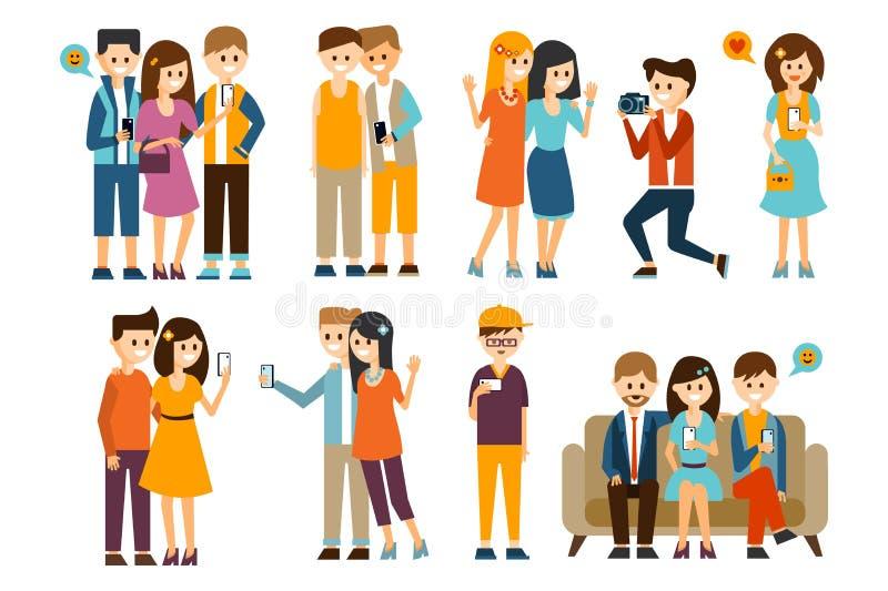 Mensenkarakters die foto's van zich in verschillende situaties geplaatst vectorillustratie nemen royalty-vrije illustratie