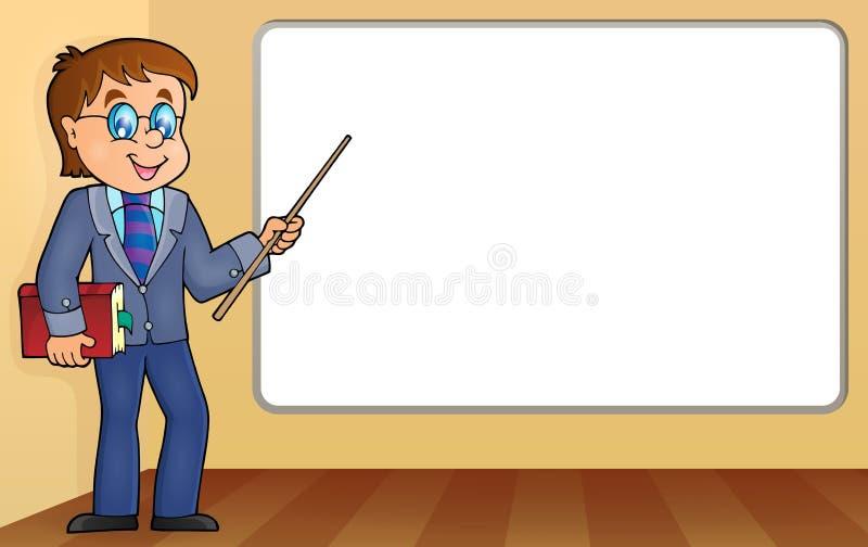 Mensenleraar die zich door whiteboard bevinden stock illustratie