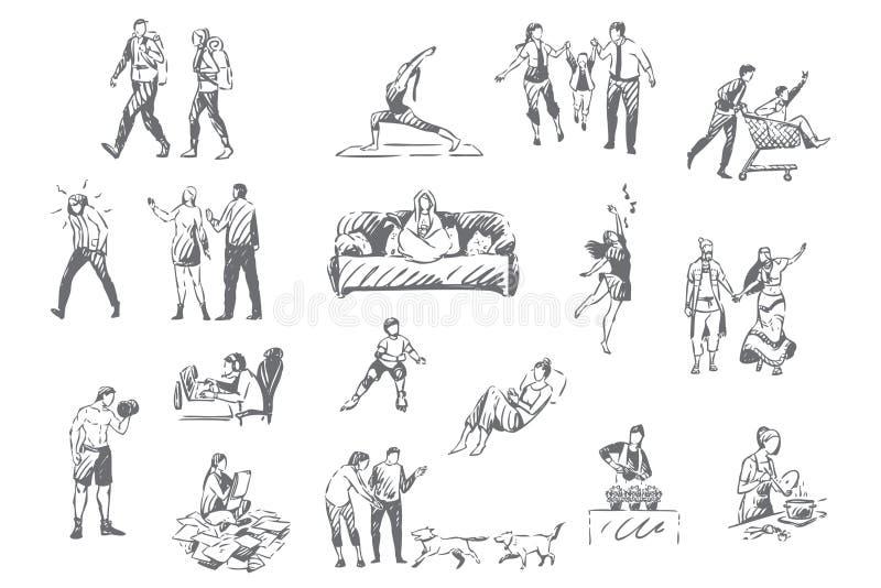 Mensenlevensstijl, de persoonlijke schets van het vrije tijdsconcept vector illustratie