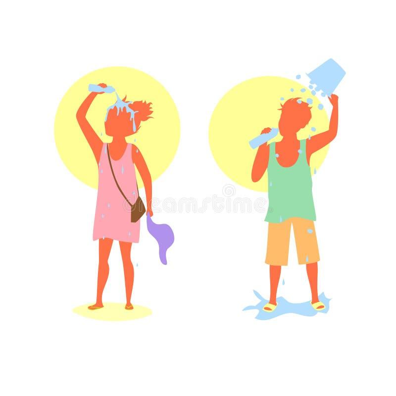 Mensenman en vrouw die aan extreme hittegolf het hoofd bieden door drinkwater en gietend water en ijsemmer over hoofden stock illustratie