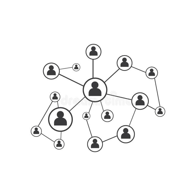 Mensennetwerk en het sociale malplaatje van het pictogramontwerp vector illustratie