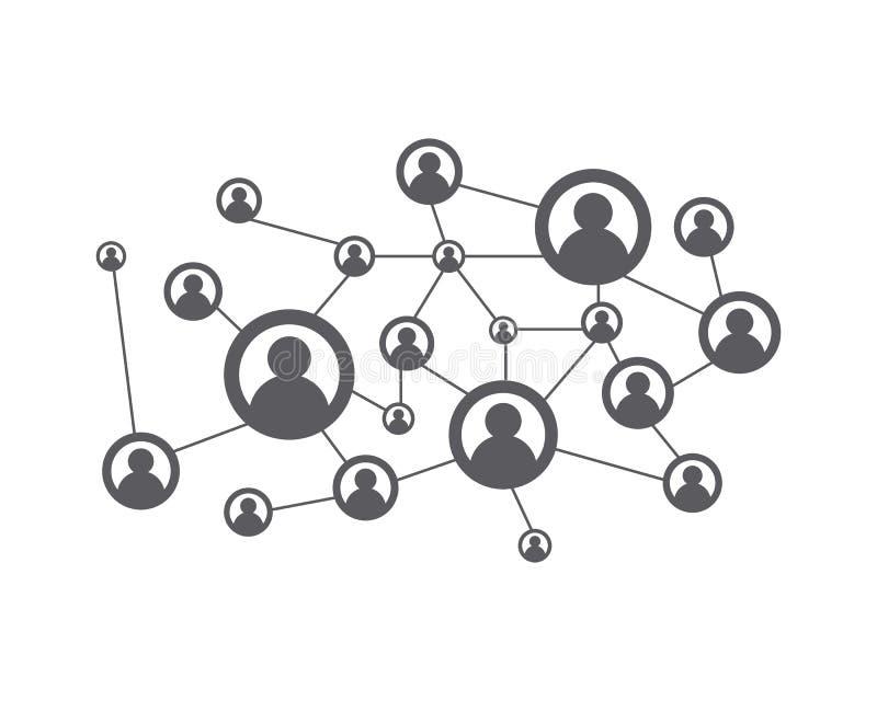 Mensennetwerk en sociaal pictogram royalty-vrije illustratie