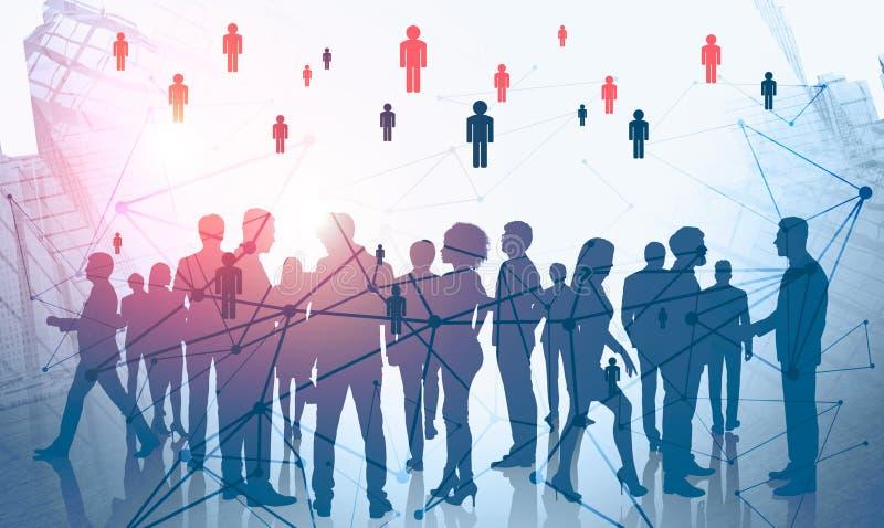 Mensennetwerk en sociale media in zaken royalty-vrije illustratie
