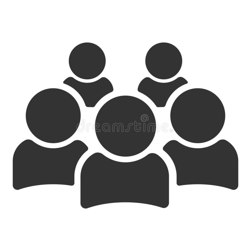Mensenpictogram in in vlakke die stijl op witte achtergrond wordt ge?soleerd Menigteteken Personensymbool voor uw websiteontwerp, vector illustratie