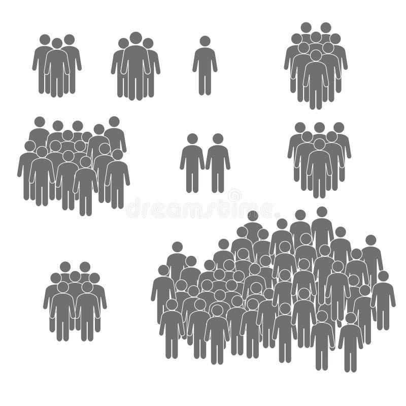 Mensenpictogram in in vlakke die stijl wordt op achtergrond wordt geïsoleerd geplaatst die Menigtetekens Personensymbool voor uw  vector illustratie