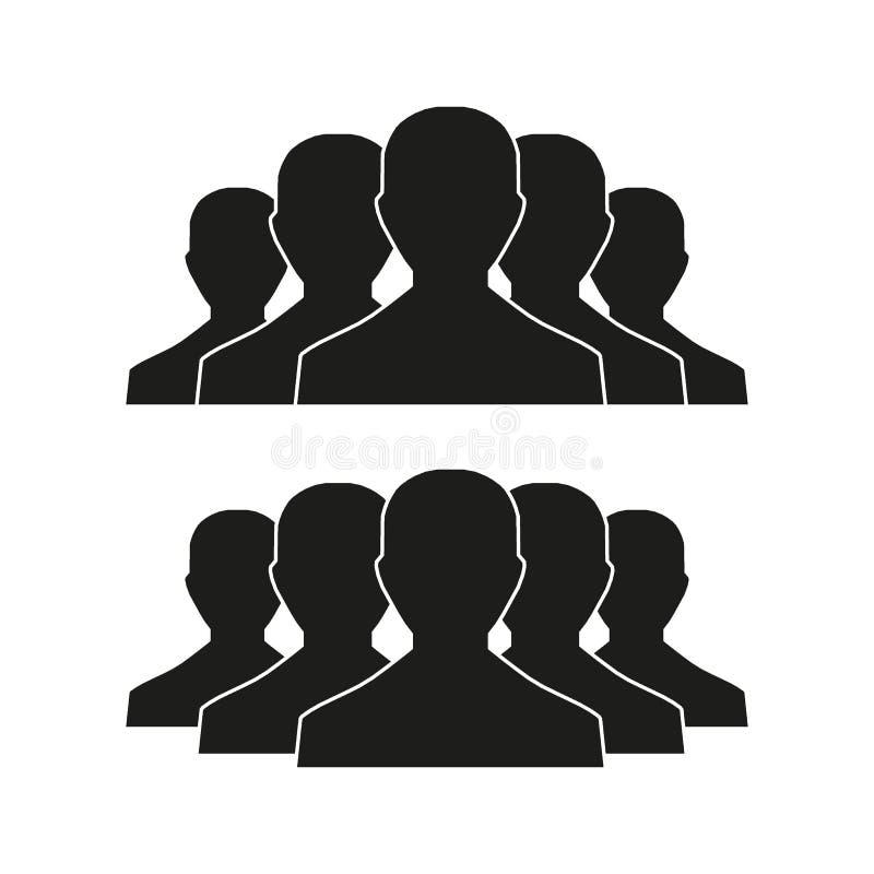 Mensenpictogram in in vlakke die stijl wordt op lichte achtergrond met schaduw wordt geïsoleerd geplaatst die Menigtetekens Perso royalty-vrije illustratie