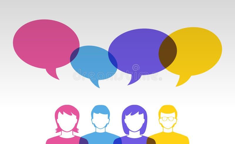 Mensenpictogrammen en kleurrijke toespraakbellen