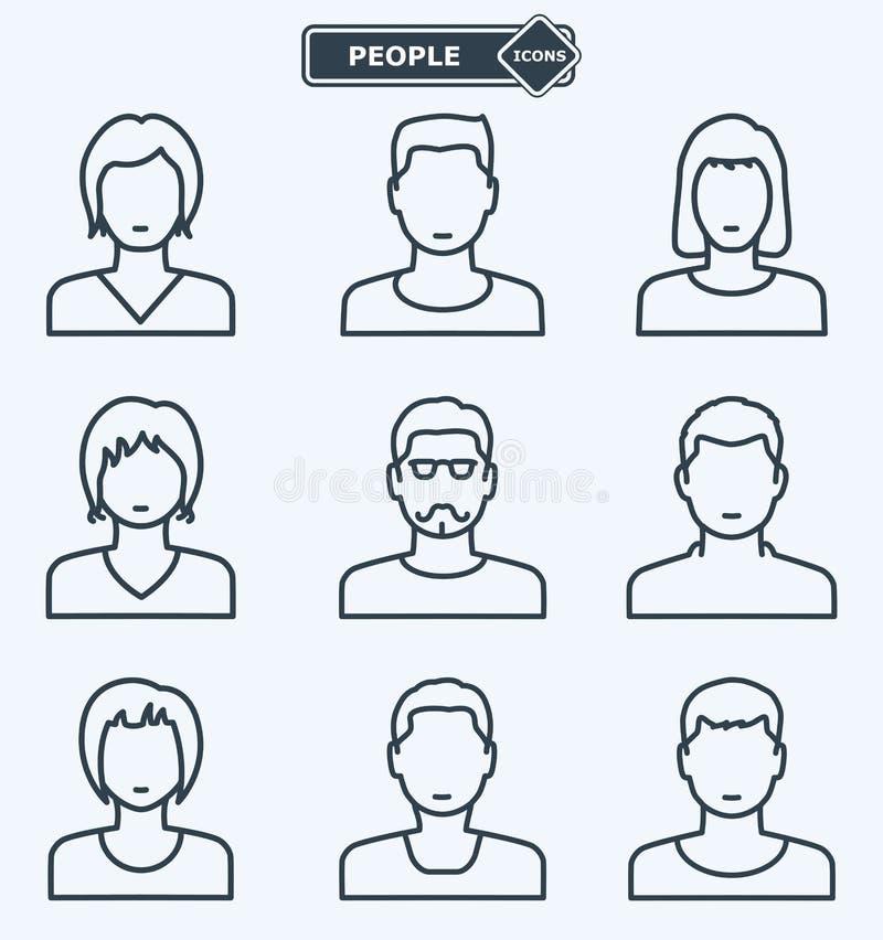 Mensenpictogrammen, lineaire vlakke stijl royalty-vrije illustratie