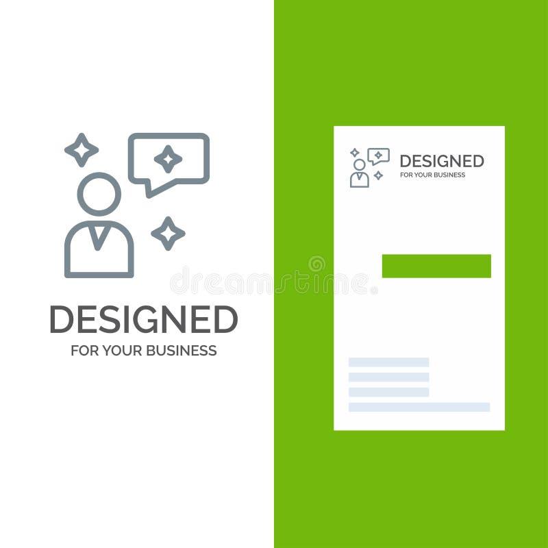 Mensenpraatje, het Babbelen, Interface Grey Logo Design en Visitekaartjemalplaatje royalty-vrije illustratie