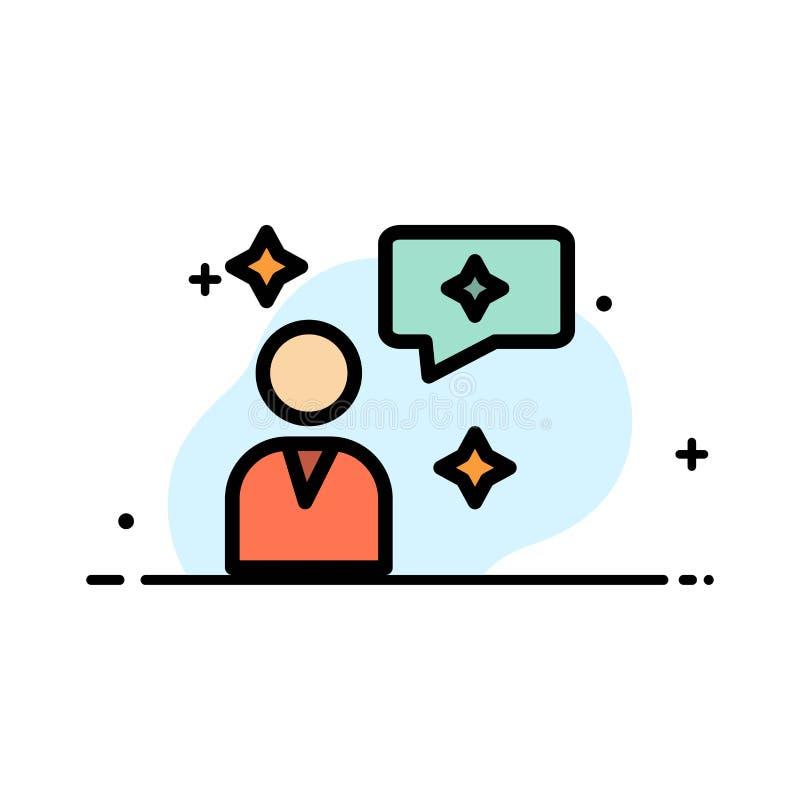 Mensenpraatje, het Babbelen, Malplaatje Interface van de Bedrijfs het Vlakke Lijn Gevulde Pictogram Vectorbanner royalty-vrije illustratie
