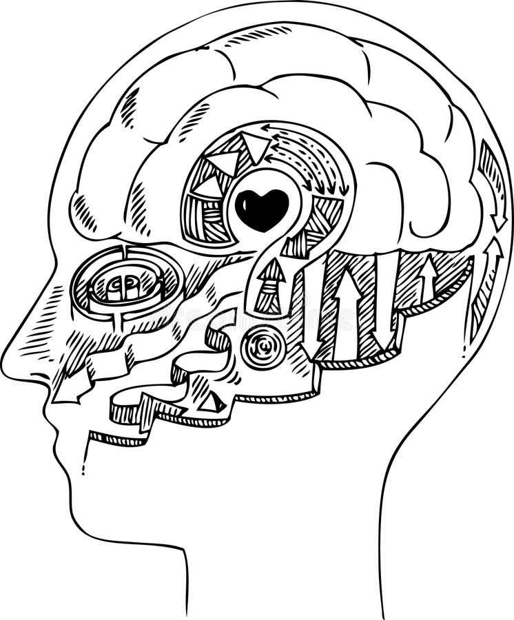 Mensenprofiel met hersenen en hart stock illustratie