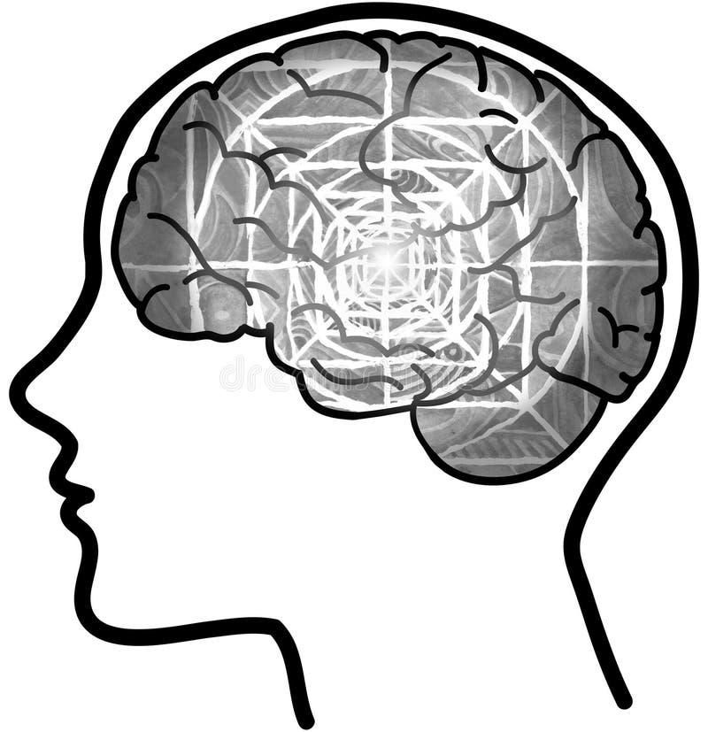 Mensenprofiel met zichtbare hersenen en grijze mandala vector illustratie