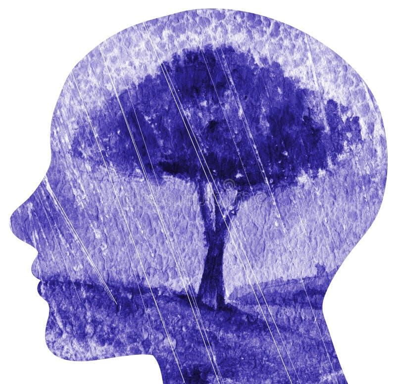 Mensenprofiel met zichtbare hersenen Regenachtig landschap stock illustratie