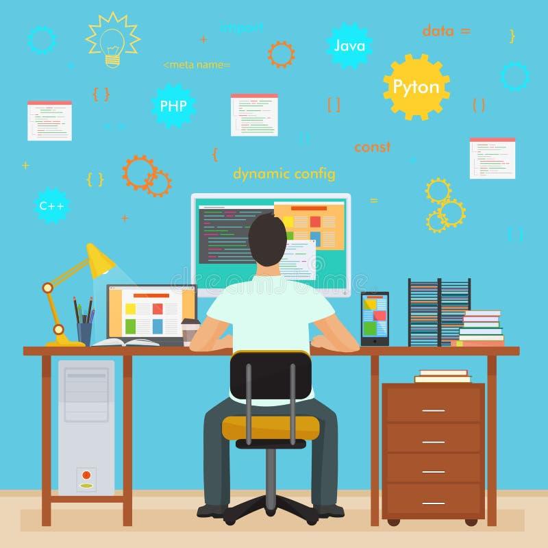 Mensenprogrammeur het achter werken aan zijn PC-computer Programmering en het coderen Bureau binnenlandse programmeur met pictogr stock illustratie