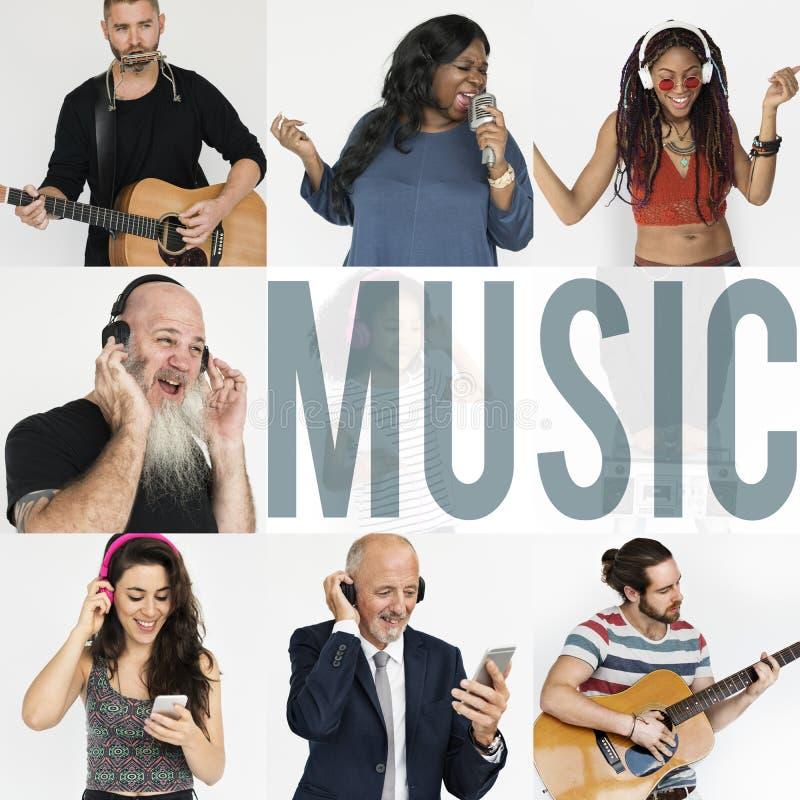 Mensenreeks Diversiteitsmensen die van de Collage van de Muziekstudio genieten stock afbeeldingen