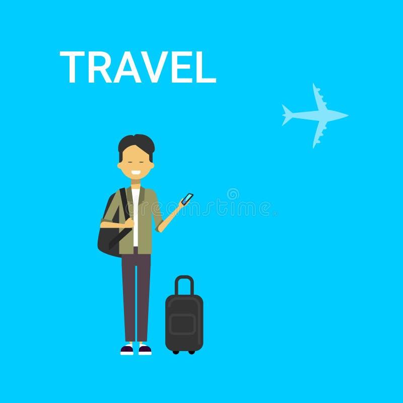 Mensenreiziger met Slim de Telefoongadget van de Zakholding Jonge Chinese Guy Travel On Air Blue-Achtergrond met Vliegtuig stock illustratie