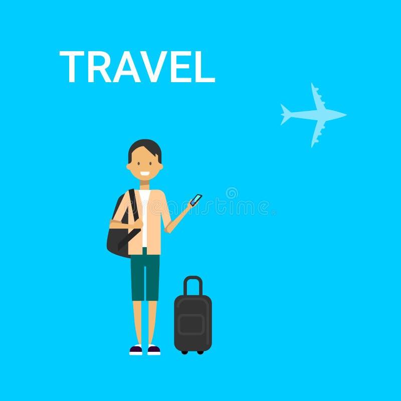 Mensenreiziger met Slim de Telefoongadget van de Zakholding Jonge Kaukasische Guy Travel On Air Blue-Achtergrond met Vliegtuig royalty-vrije illustratie