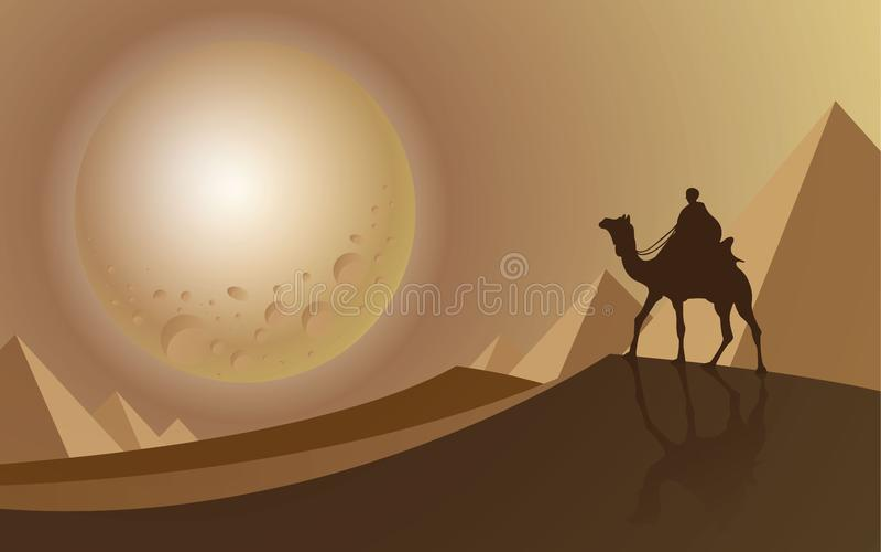 Mensenrit een kameel die aan de volle maan woestijn bekijken stock afbeeldingen