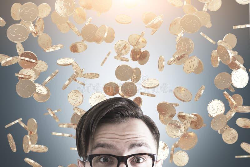 Mensens hoofd en muntstukregen stock fotografie