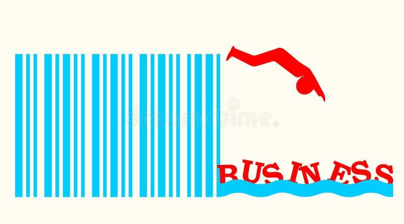 Mensensilhouet die van streepjescodespringplank duiken in bedrijfswateren royalty-vrije illustratie