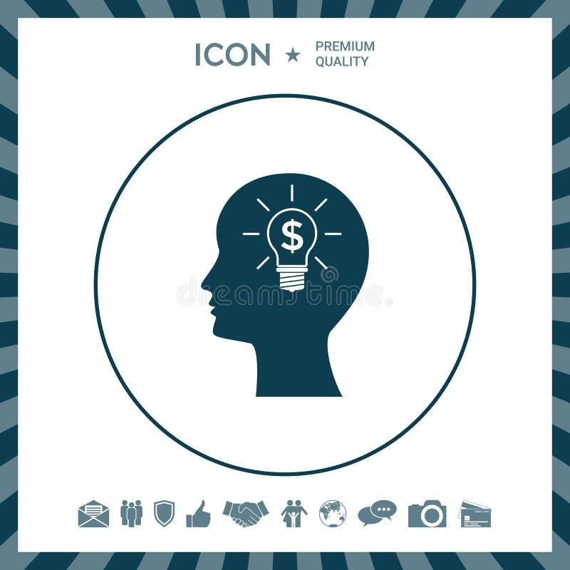 Mensensilhouet - gloeilamp met van het bedrijfs dollarsymbool concept pictogram royalty-vrije illustratie