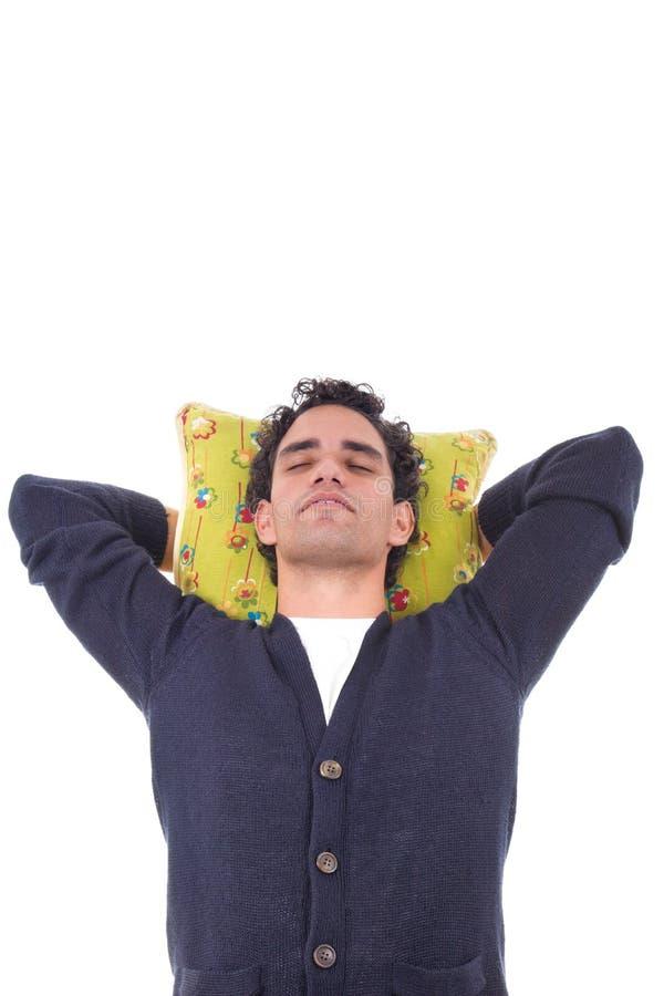 Mensenslaap op een hoofdkussen stock foto's