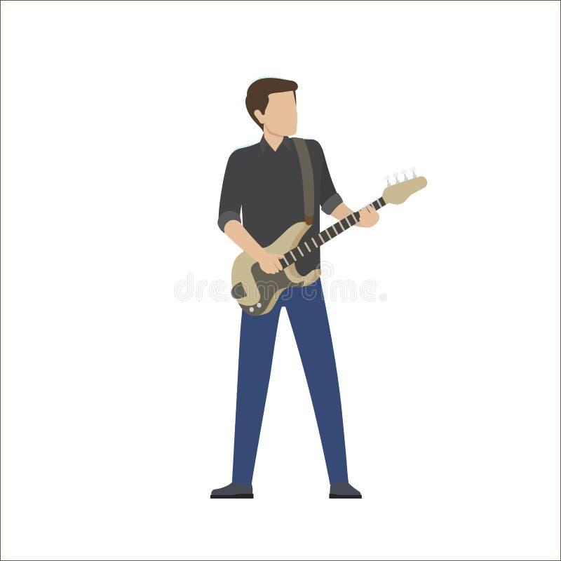 Mensenspelen in Muzikale Groep op Bass Guitar, Vector stock illustratie