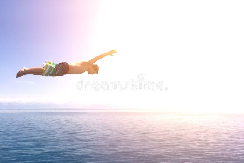Mensensprong in de oceaan royalty-vrije stock foto