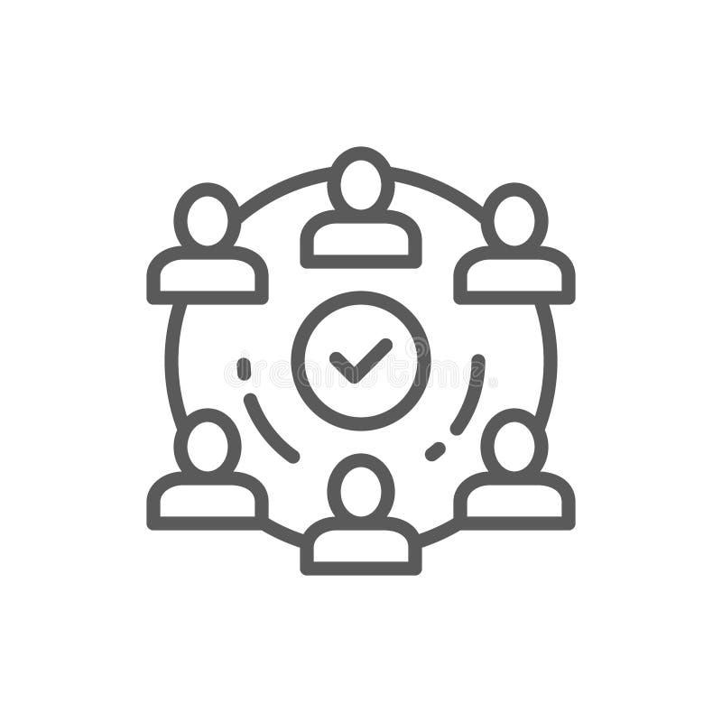 Mensenteam in het pictogram van de projectlijn royalty-vrije illustratie