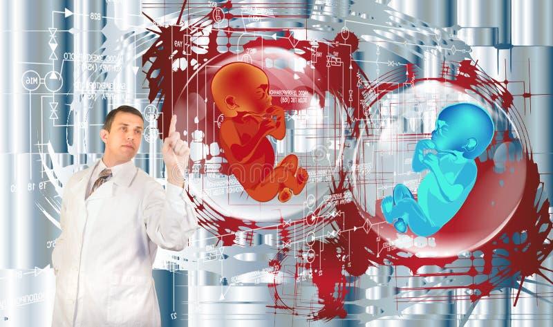 Mensentoekomst. Genetisch onderzoek stock illustratie