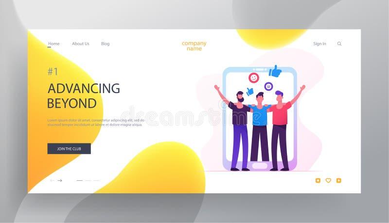Mensenvergadering in Internetwebsitelandingspagina, Groep Mannelijke Karakters die bij het Reusachtige Smartphone-Scherm, Vertrou vector illustratie