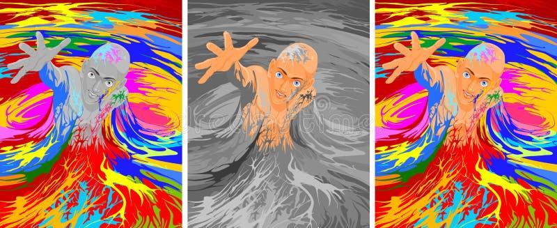 Mensenvlucht van de grijze massa royalty-vrije illustratie