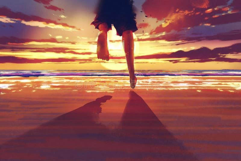 Mensenvoeten die op het strand bij zonsopgang lopen vector illustratie