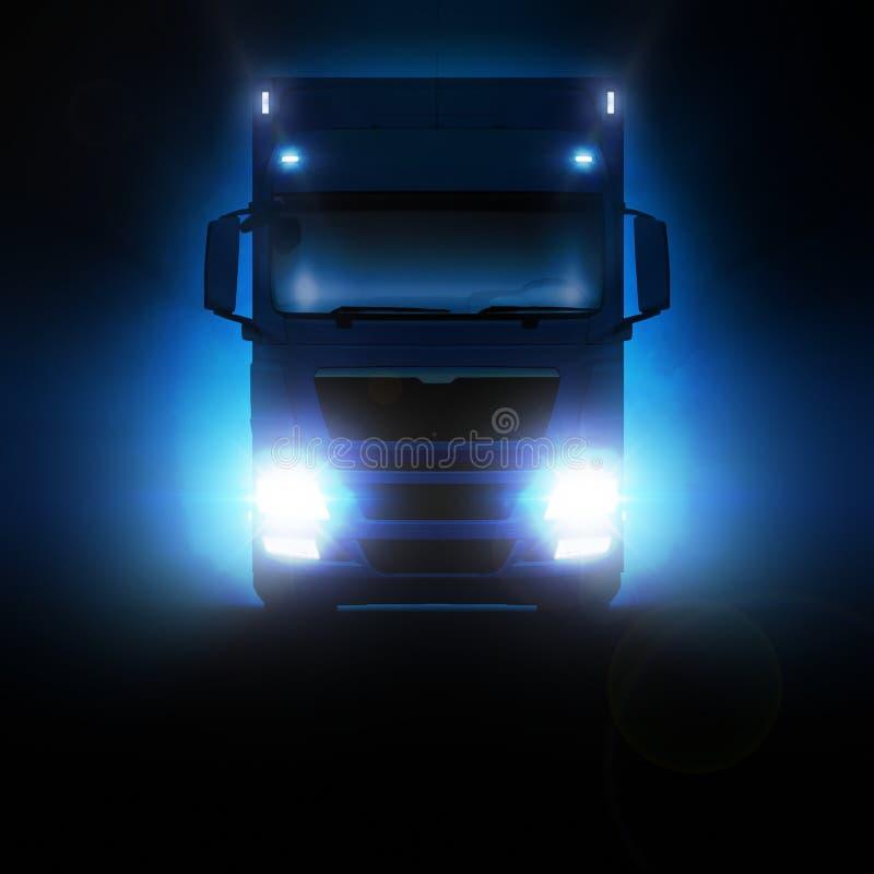 Mensenvrachtwagen die zich op de weg bij nacht bewegen royalty-vrije stock afbeelding