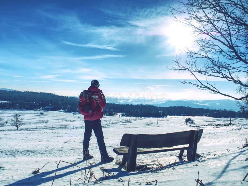 Mensenwandelaar die met rugzak aan landschap kijken stock foto's