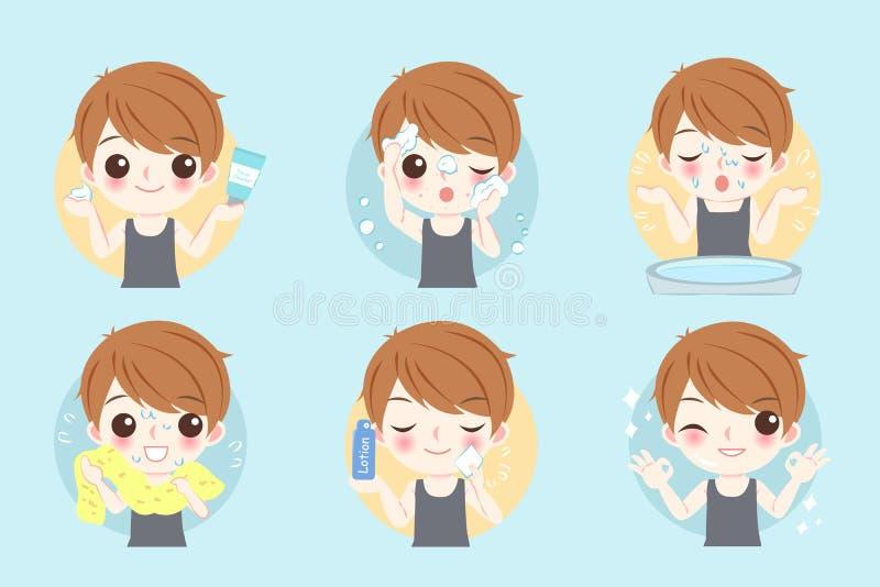 Mensenwas zijn gezicht vector illustratie