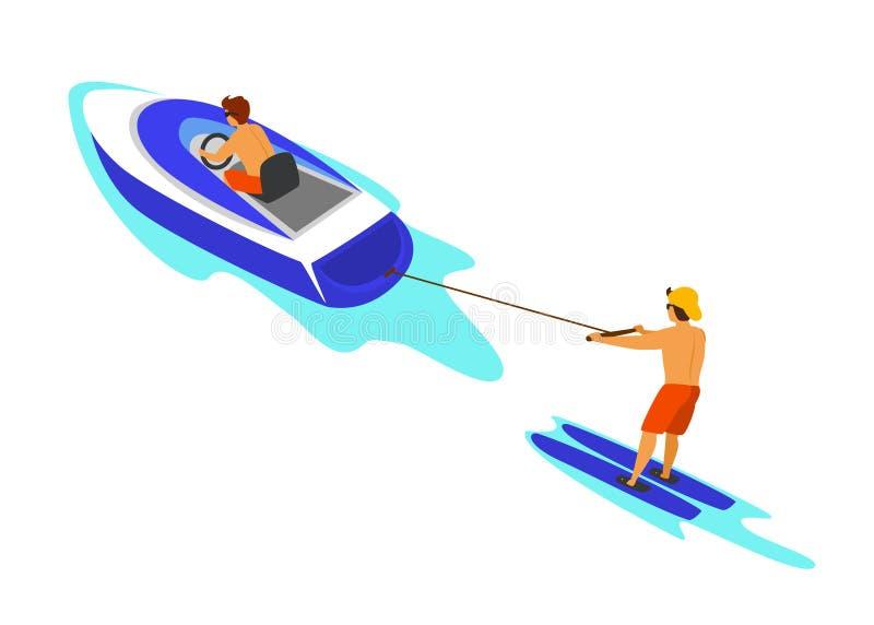 Mensenwaterskiën achter snelheidsboot die wordt getrokken stock illustratie
