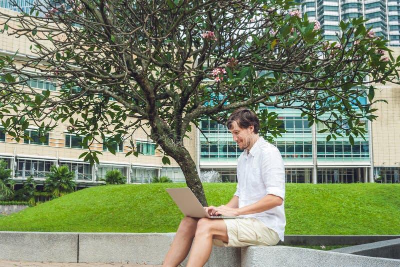 Mensenzakenman of student in toevallige kleding die laptop in een tropisch park op de achtergrond van wolkenkrabbers met behulp v stock foto