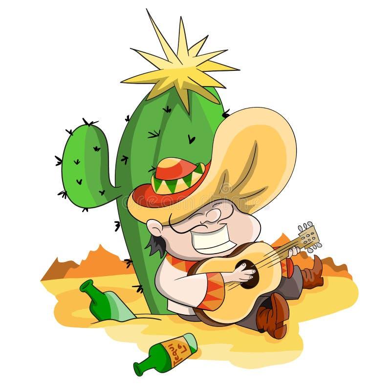 Mensenzitting dichtbij cactus royalty-vrije illustratie