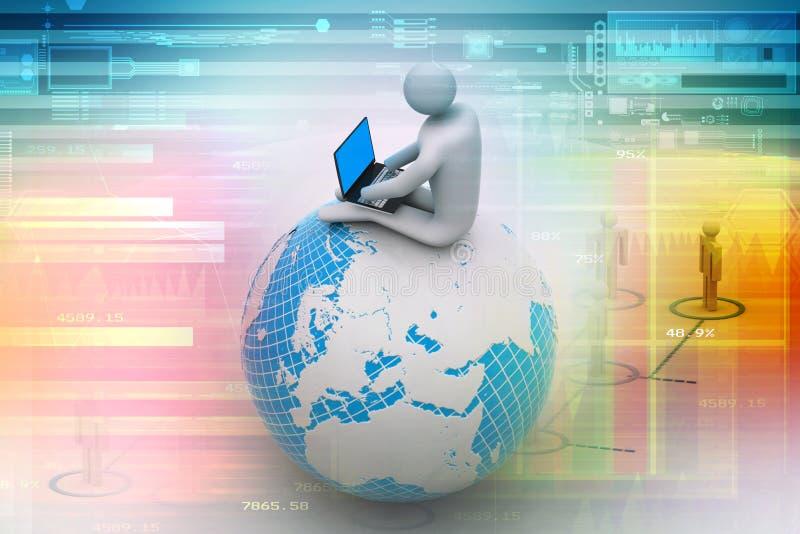 Mensenzitting op bol met Laptop. Bovenop de Wereld. stock illustratie